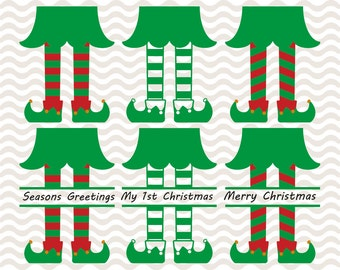 Elf legs svg, split monogram designs, Christmas svg files, SVG, DXF, EPS, use with Silhouette Studio and Cricut Design Space.