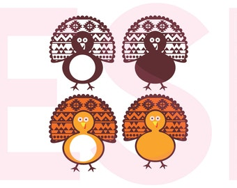 Thanksgiving SVG, Circle Monogram svg, Turkey svg, DXF, EPS, cut files for use with Silhouette Studio and Cricut Design Space