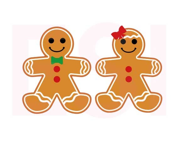 Gingerbread Boy And Girl Christmas Svg Files Svg Dxf Eps