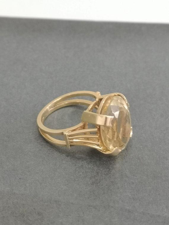 Retro Solid 18k Gold Citrine Retro Ring