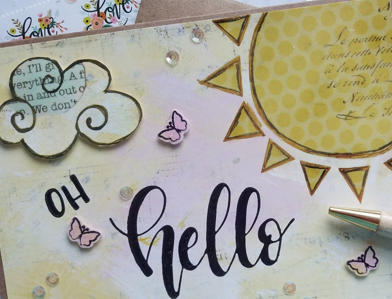 Oh Hello Card  Friend Hello  Collage Card  Handmade Card  Sunshine and Cloud  Pink Butterflies  Sparkle Butterflies