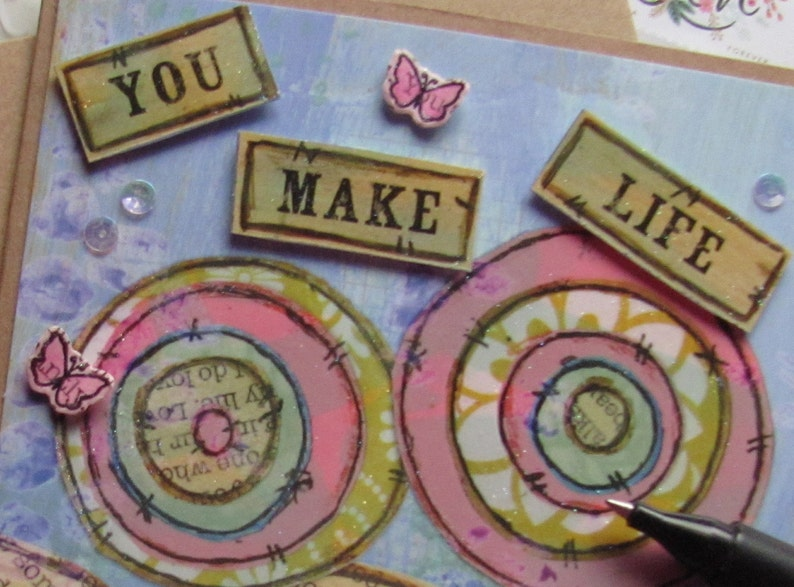 Beautiful Life Card Handmade for You Beautiful You Card You Make Life Handcrafted Card Floral Collage Card Thinking of You Card