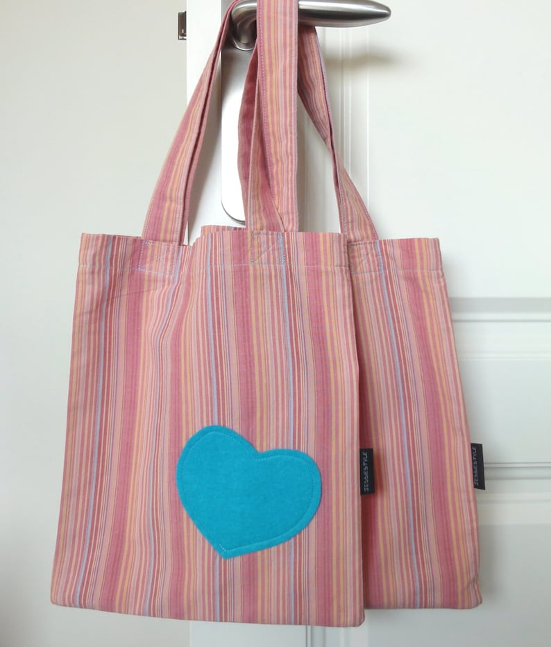 Small striped tote reuseable cotton gift bag