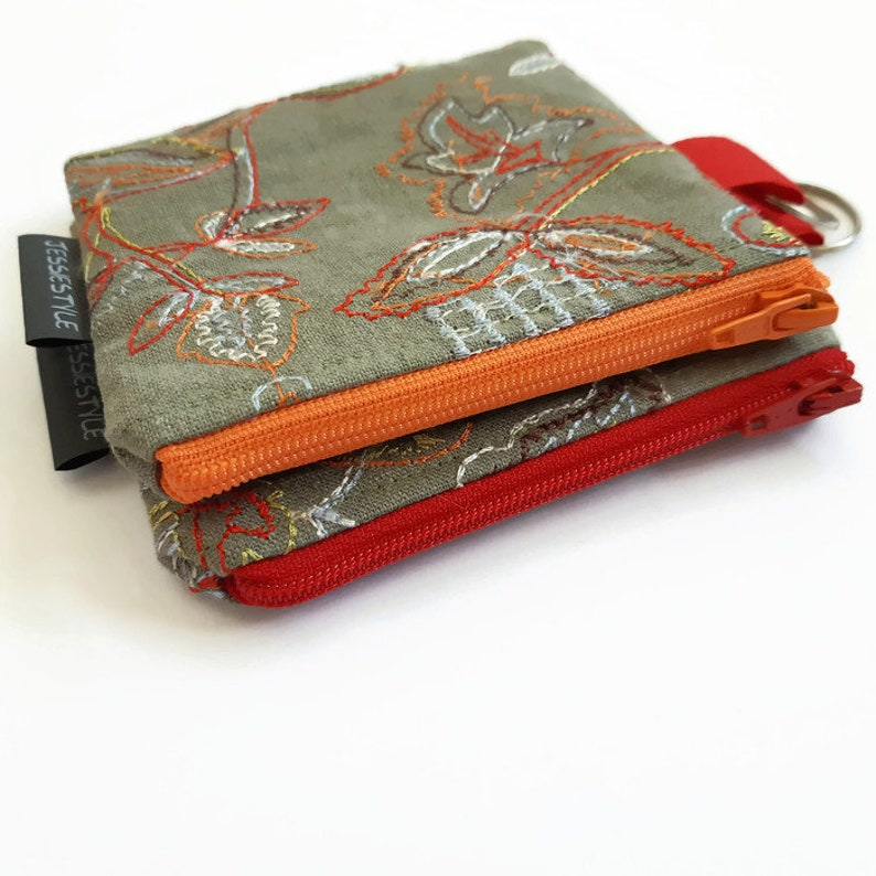 boho keychain wallet coin purse tiny wallet travel pouch small wallet mini keychain bag zippered keychain pouch Small zipper pouch green