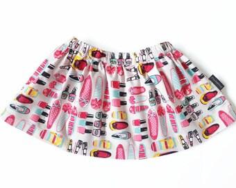 Baby skirt 12-18 months pink grey with nail polish lipstick print, size 12-18M adjustable waist baby shower birth gift girl