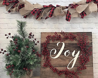 Joy Sign- Christmas Decor- Winter Decor- Wood Sign- Farmhouse Decor- Farmhouse Sign- Wall Decor- Christmas Sign- Red and White Sign