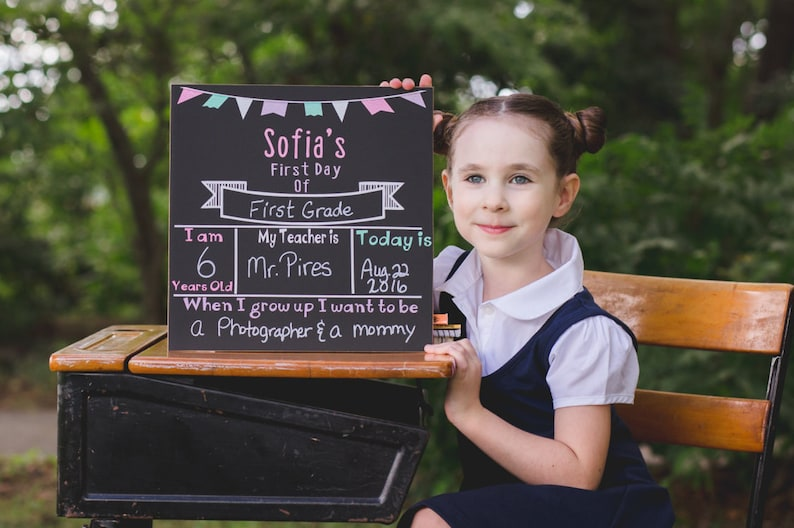 First day of school sign Personalized chalkboard sign First image 0