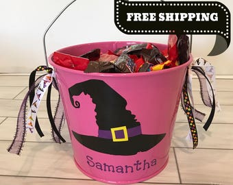 Halloween Bucket- Metal Bucket- Halloween bag- Trick or Treat Bucket- Personalized Halloween Bucket- Personalized Bucket- Witch Hat Bucket
