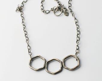 Oxidized Silver Hexagon Necklace Honeycomb Necklace Geometric