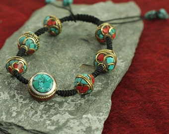 Jewelry for Bema Beaded Coral and Turquoise Stone with Adjustable Cord Bracelet