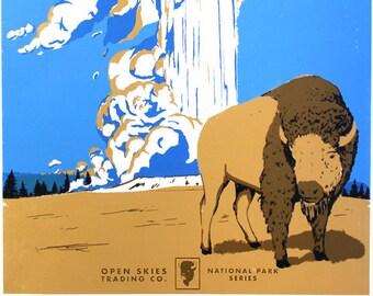 Yellowstone National Park Screenprint Poster