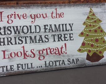 griswold family christmas tree signnational lampoon christmas vacation signhumorous holiday giftgag giftmovie loverhostesshousewarming - National Lampoons Christmas Decorations