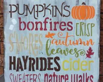 PUMPKIN BONFIRE FALL Sign/Outdoor/Indoor Sign/Entrance Sign/Halloween Decor/Housewarming/Hostess Gift