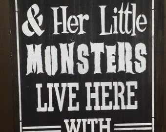 HALLOWEEN ENTRANCE SIGN'Witch Lives Here With Her Little Monsters/Handsome Devil Sign/Seasonal/Fall Sign/Outdoor/Indoor Sign