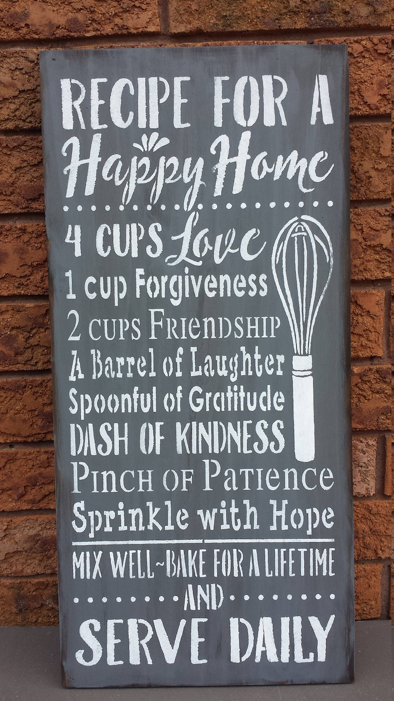 Recipe For A Happy Homekitchen Signchristmas Gift Etsy