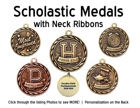Scolastic medal, Honor roll, Graduate medals , Drama Medal with neck ribbons