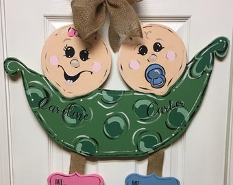 Two peas in a pod baby announcement