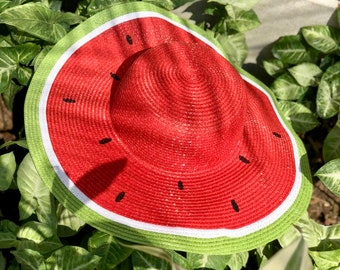 92376a80 watermelon floppy hat, watermelon straw sun hat, Personalized straw floppy  hat, beach sun hat, Floppy beach hat, bachelorette party.