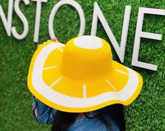 1c247f8cf5c115 lemon floppy hat, yellow lemon straw sun hat, Personalized straw floppy hat,  beach sun hat, Floppy beach hat, bachelorette party.