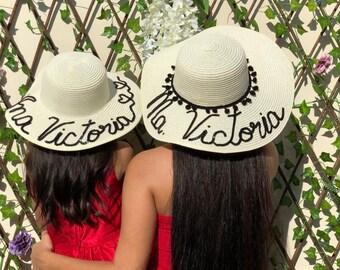 38c2e4c2 Luxury custom made kids, toddler sun hat, Personalized girls floppy hat  Personalized, straw beach sun hat, Names, Floppy beach hat, baby hat