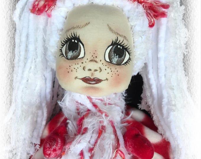 Featured listing image: Amelia, A Lil Darlin Original, Christmas Belle Series, OOAK Art Doll, Cloth Doll, Christmas, Handmade, Hand Painted, Ornament, OOAK Ornament