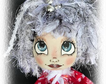 Cristabell A Lil Darlin Original, Christmas Belle Series, OOAK Art Doll, Cloth Doll, Christmas, Handmade, Hand Painted, Collectible Ornament