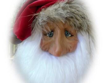 Santa Ornament, Lil Darlin Original, Christmas Ornament, Santa Claus, OOAK Santa Ornament, Christmas, OOAK Art Doll, Handmade, EP