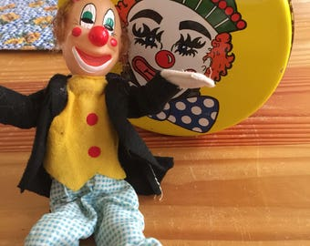 Circus Clown Tin Candy Vintage 1960 Metal Cannister Yellow Poseble Clown Doll Made in Japan