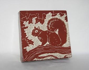 Tile - Hand carved Squirrel 2