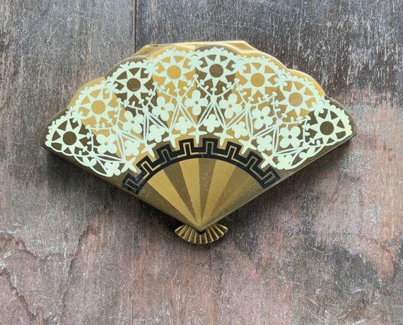 Wadsworth Figural Fan Compact, Fan Shaped Compact,