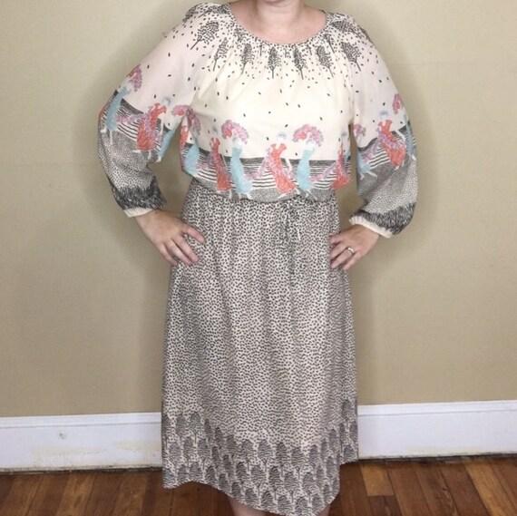 Vintage Novelty Print Border Dress - image 3