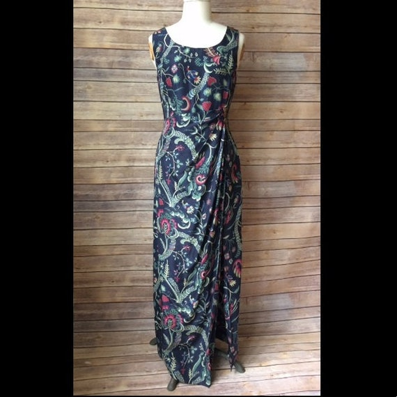 Vintage 50s Sarong Wrap Dress Silk Pinup