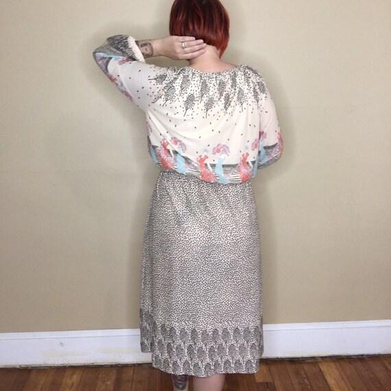 Vintage Novelty Print Border Dress - image 4