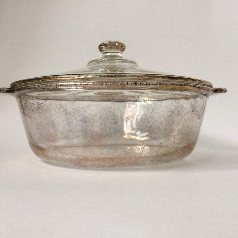Vintage Mid Century Fire King Georges Briard Covered Casserole 2 Quart Gold