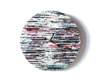 Large Round Recycled Newspaper Clock, 18 inches