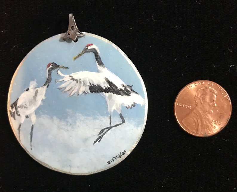 Dancing Cranes Meticulously Hand Painted on Gourd Piece Fashioned into a Wearable Fine Art Jewelry Piece