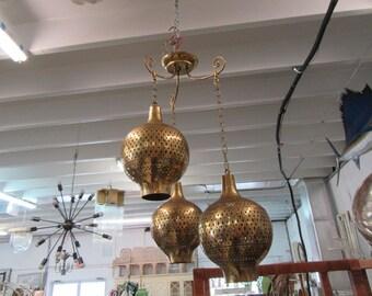 Moroccan Style Pierced Brass Pendant Chandelier