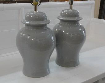 Pair of Dove Grey Ginger Jar Lamps