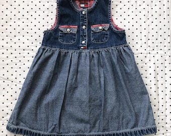 82cd4c69a250 Vintage 90s Denim Tommy Hilfiger Dress Girls Sz 4T