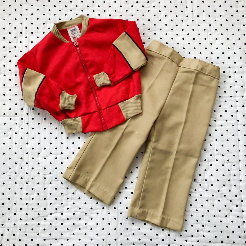 dd2b49138491 Vintage Red Jacket   Pants Set Outfit Boys Sz 18 24 months