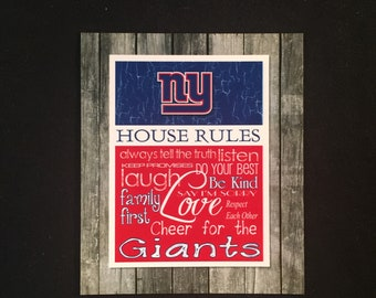 New York Giants House Rules 4x4.1/2 Magnet
