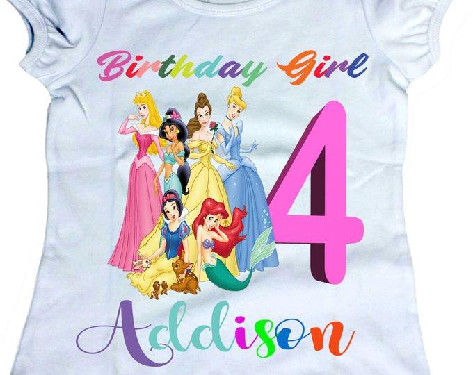 Princess inspired  shirt - Princess Birthday shirts  Girl - Girls shirt - Disney Princess birthday shirts - Personalized shirts