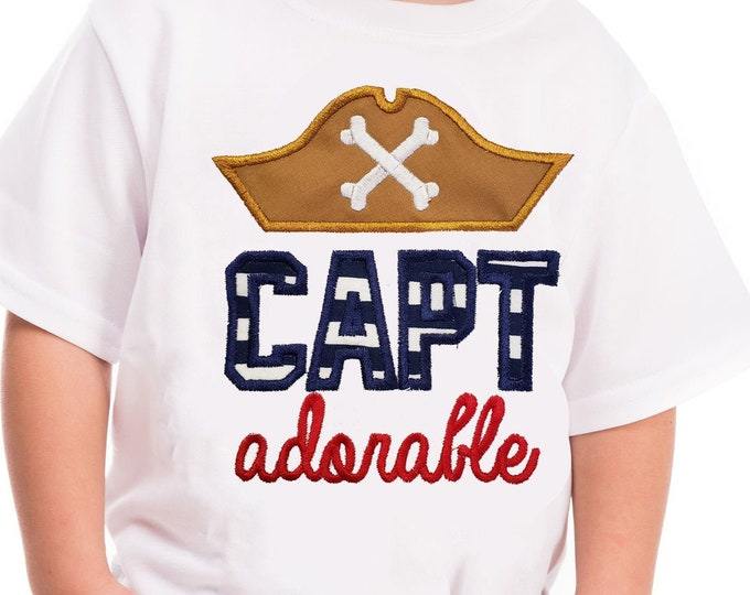 Pirate Boys shirt Cap Adorable pirate shirt  Boys birthday shirt