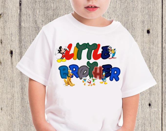 Boys Little Brother shirt - Mickey and friends shirts -   Little Brother boys shirt - Boys brother Mickey shirt