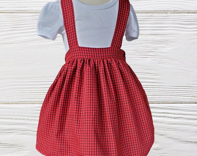 SUSPENDER SKIRT - Christmas jumper skirt - Holiday toddler skirt - Girls suspender gingham Christmas skirt