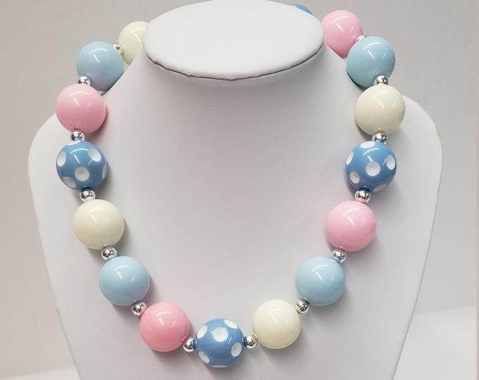 CHUNKY BUBBLE GUM  Necklace -Pink Blue Bubblegum Necklace- Girl Chunky Necklace -Birthday Toddler Necklace - Elastic Necklace- Baby Necklace