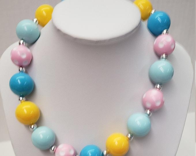 CHUNKY BUBBLE GUM  Necklace - Pink - Blue Bubblegum Necklace-Girl Chunky Necklace -Birthday Toddler Necklace -Elastic Necklace-Baby Necklace