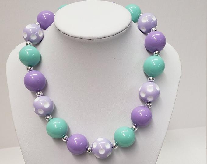 CHUNKY BUBBLE GUM  Necklace - Purple  Bubblegum Necklace - Girl Chunky Necklace - Chunky Bead Necklace - Elastic Necklace -Necklace