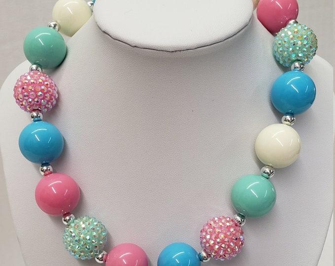 CHUNKY BUBBLE GUM  Necklace - Pink Bubblegum Necklace - Girl Chunky Necklace -Birthday Toddler Necklace - Elastic Necklace- Baby Necklace