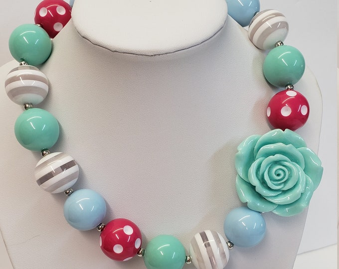 CHUNKY BUBBLE GUM  Necklace - Girls Necklace - Girl  Elastic Chunky Necklace - Birthday Necklace - Toddler Girl Necklace